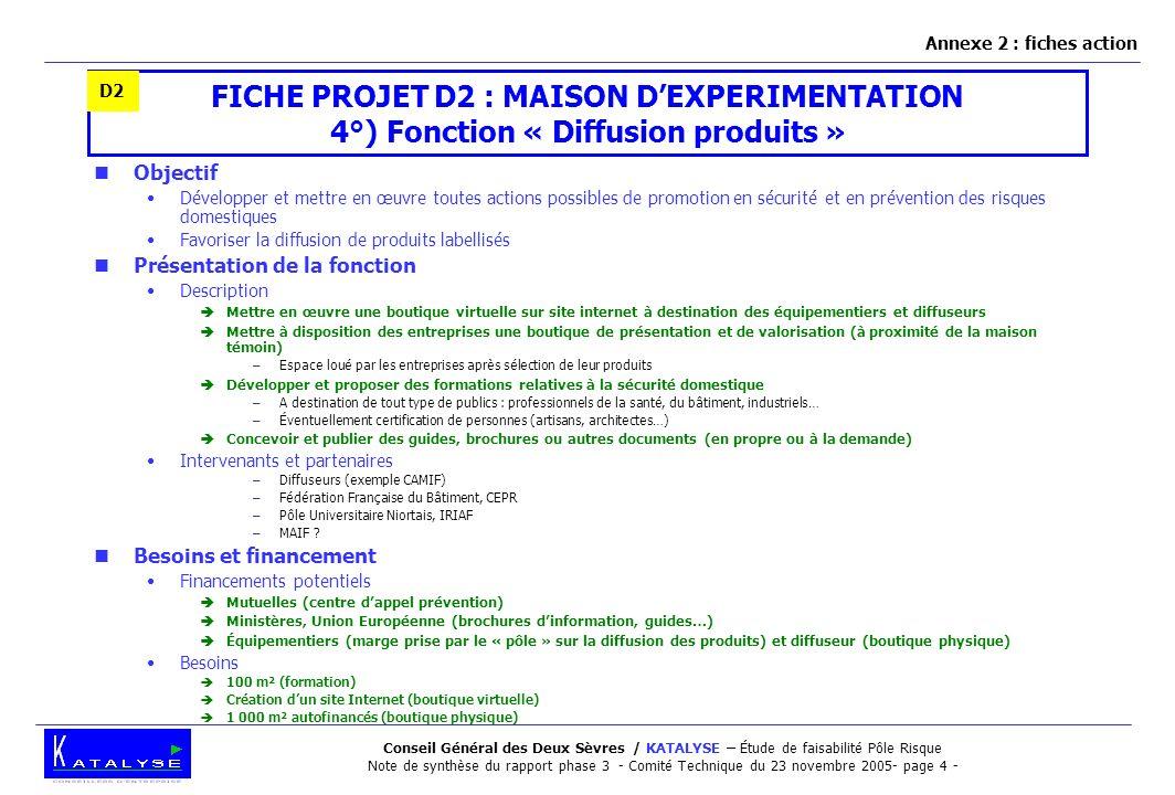Annexe 2 : fiches action D2. FICHE PROJET D2 : MAISON D'EXPERIMENTATION 4°) Fonction « Diffusion produits »