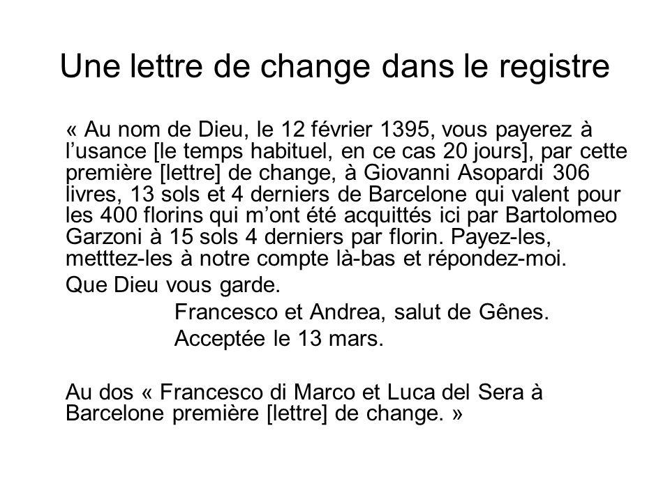 Une lettre de change dans le registre