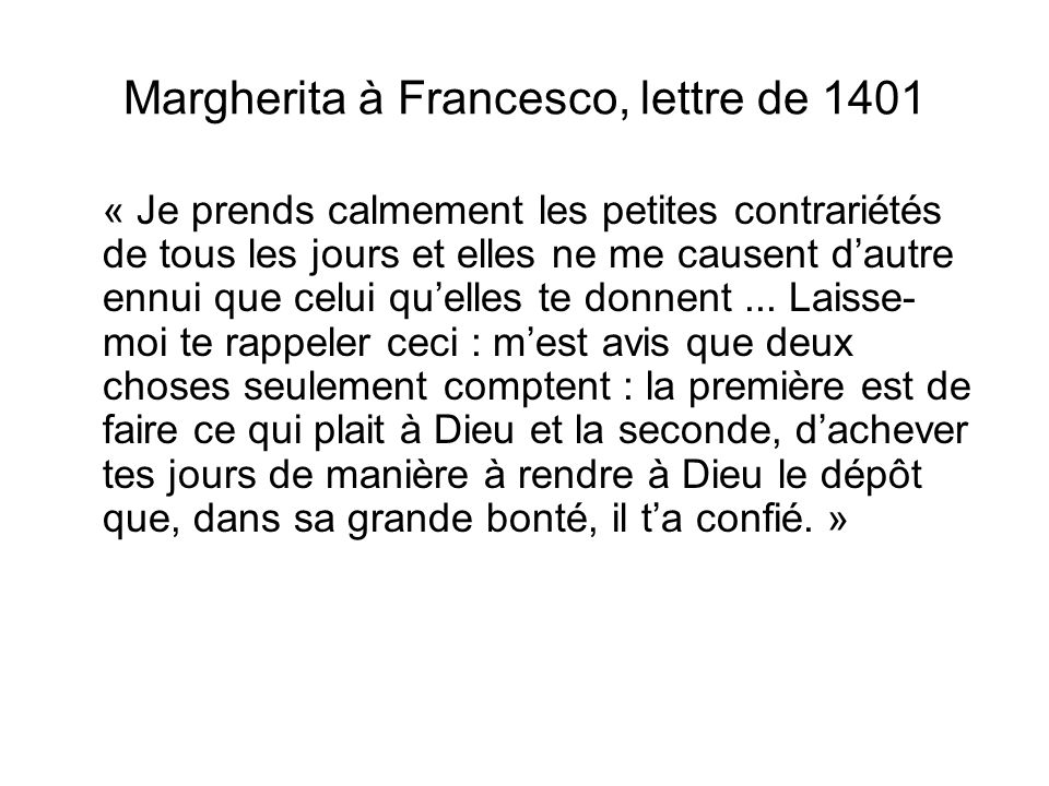 Margherita à Francesco, lettre de 1401