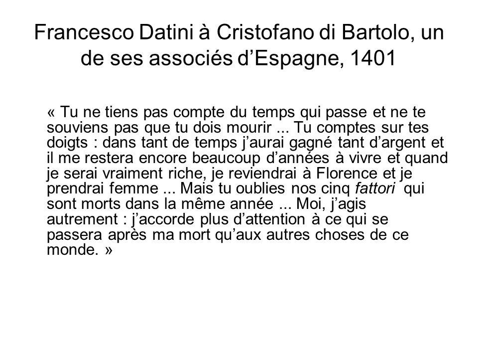 Francesco Datini à Cristofano di Bartolo, un de ses associés d'Espagne, 1401