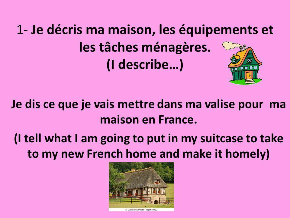 Je dis ce que je vais mettre dans ma valise pour ma maison en France.