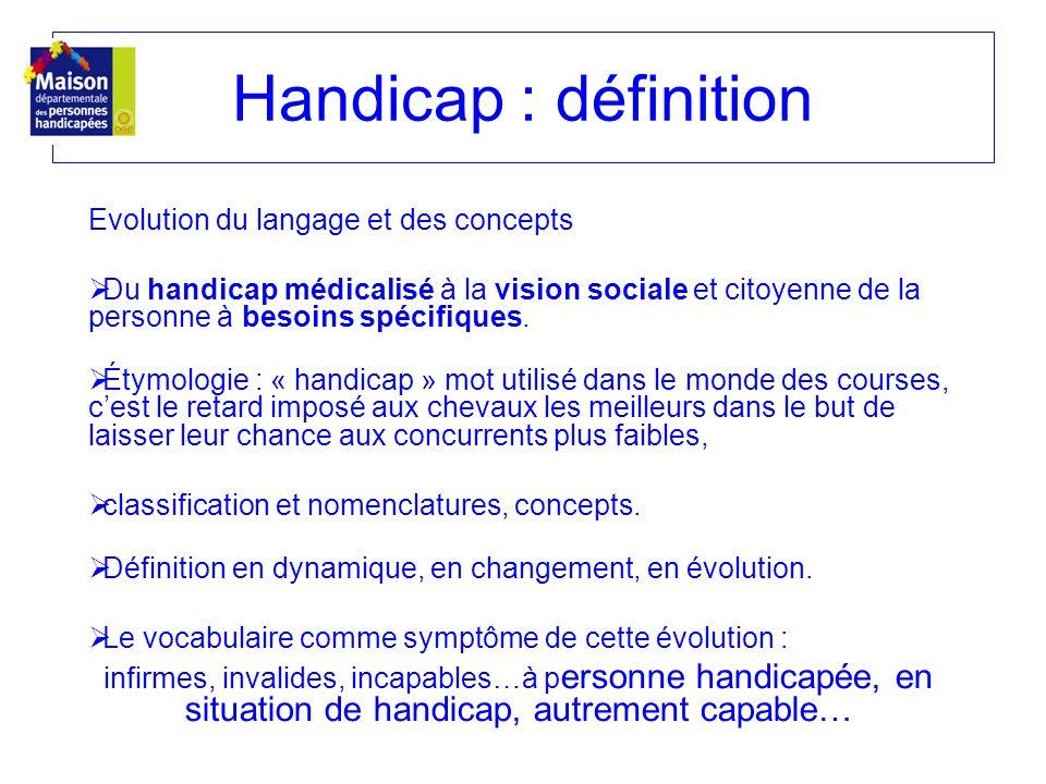 Handicap : définition Evolution du langage et des concepts