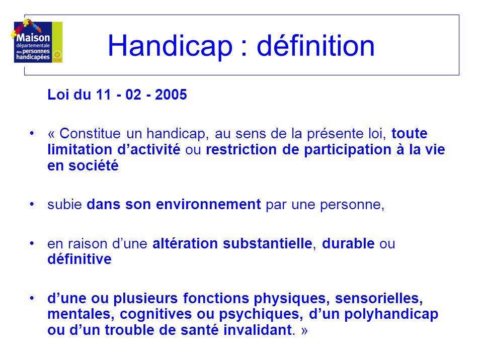 Handicap : définition Loi du 11 - 02 - 2005