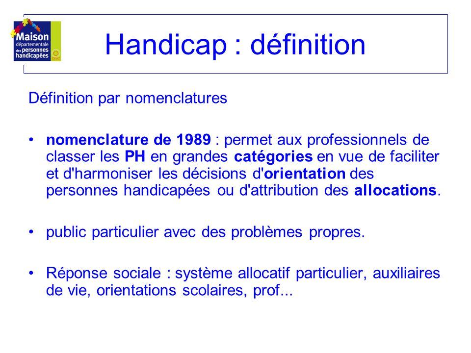 Handicap : définition Définition par nomenclatures