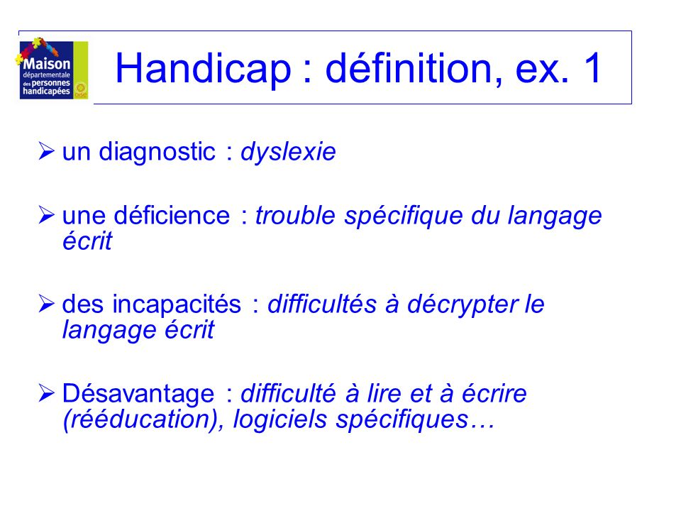 Handicap : définition, ex. 1