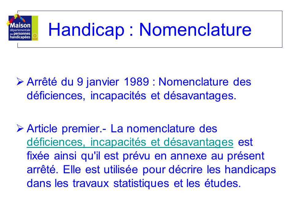 Handicap : Nomenclature