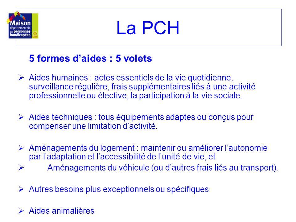 La PCH 5 formes d'aides : 5 volets