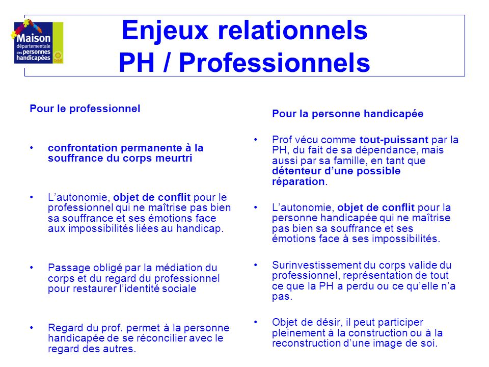Enjeux relationnels PH / Professionnels