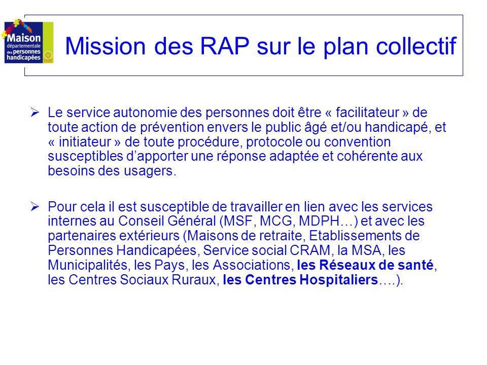 Mission des RAP sur le plan collectif
