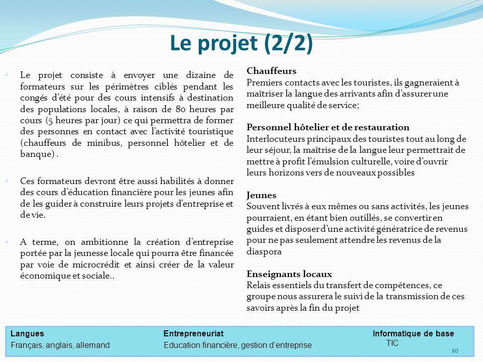 Le projet (2/2) Chauffeurs