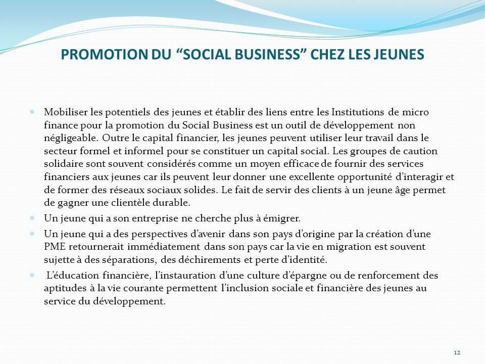 PROMOTION DU SOCIAL BUSINESS CHEZ LES JEUNES