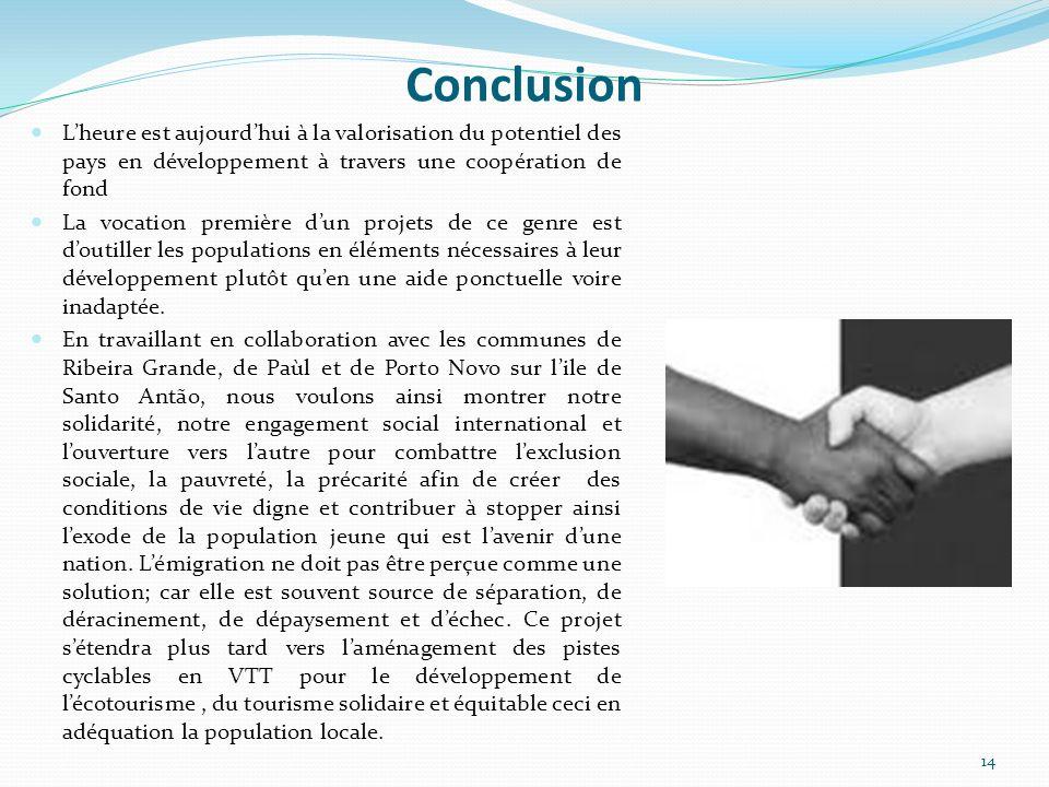 Conclusion L'heure est aujourd'hui à la valorisation du potentiel des pays en développement à travers une coopération de fond.
