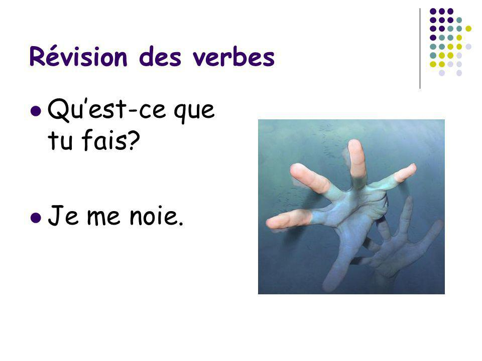 Révision des verbes Qu'est-ce que tu fais Je me noie.