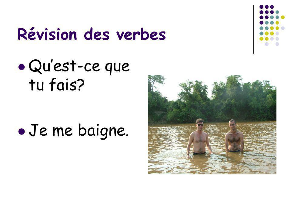 Révision des verbes Qu'est-ce que tu fais Je me baigne.