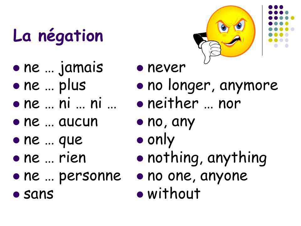 La négation ne … jamais ne … plus ne … ni … ni … ne … aucun ne … que