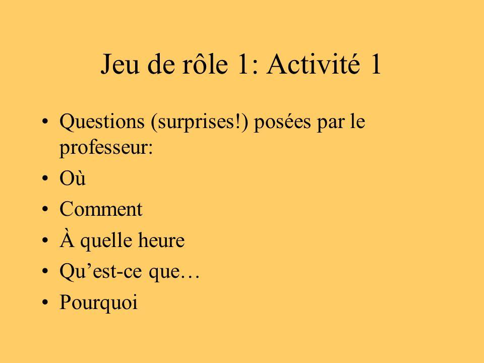 Jeu de rôle 1: Activité 1 Questions (surprises!) posées par le professeur: Où. Comment. À quelle heure.