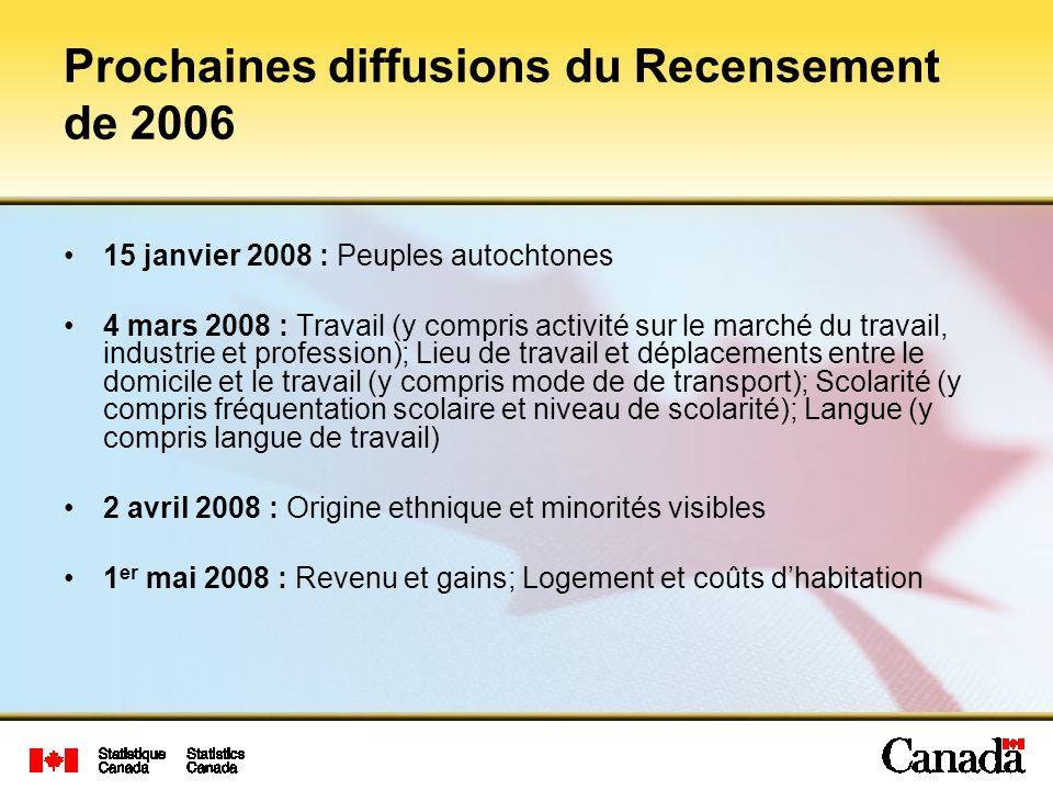 Prochaines diffusions du Recensement de 2006
