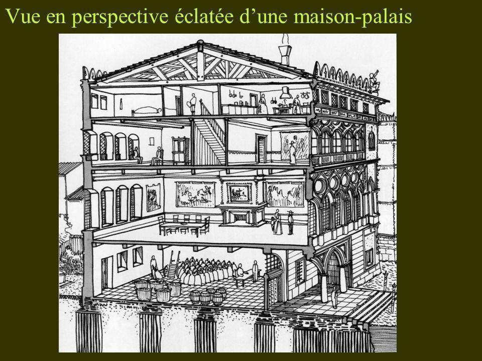 Vue en perspective éclatée d'une maison-palais