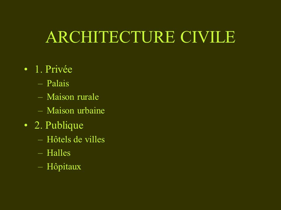ARCHITECTURE CIVILE 1. Privée 2. Publique Palais Maison rurale
