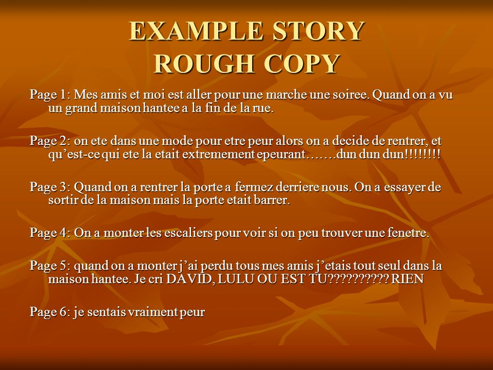 EXAMPLE STORY ROUGH COPY