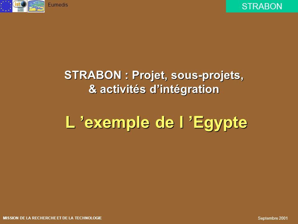 STRABON : Projet, sous-projets, & activités d'intégration L 'exemple de l 'Egypte