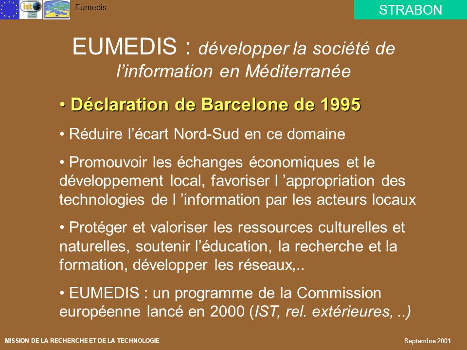 EUMEDIS : développer la société de l'information en Méditerranée