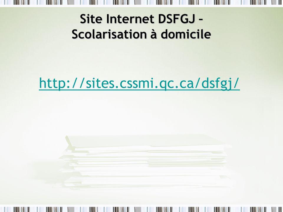 Site Internet DSFGJ – Scolarisation à domicile