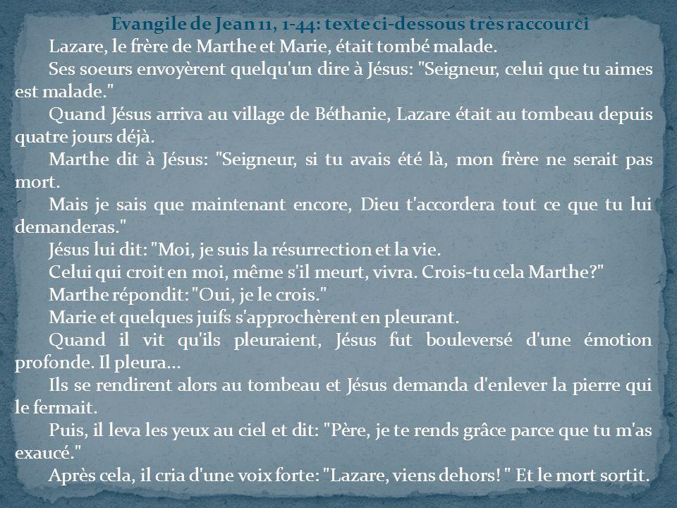 Evangile de Jean 11, 1-44: texte ci-dessous très raccourci
