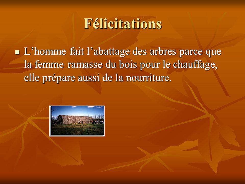 Félicitations L'homme fait l'abattage des arbres parce que la femme ramasse du bois pour le chauffage, elle prépare aussi de la nourriture.