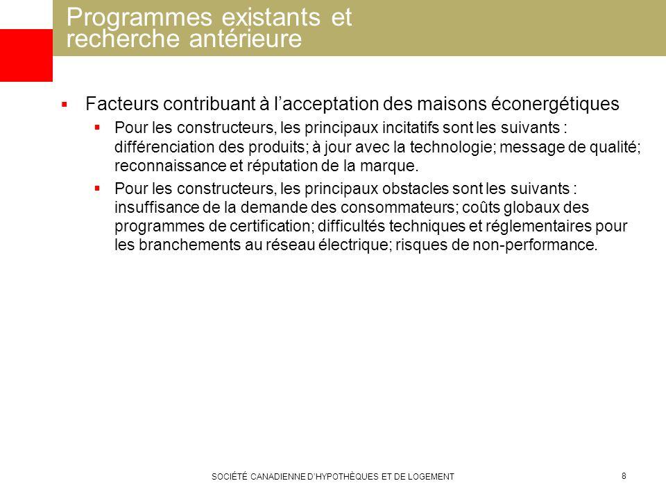 Programmes existants et recherche antérieure