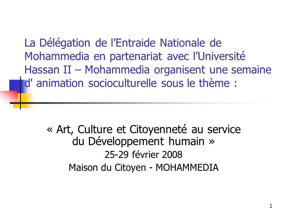 « Art, Culture et Citoyenneté au service du Développement humain »