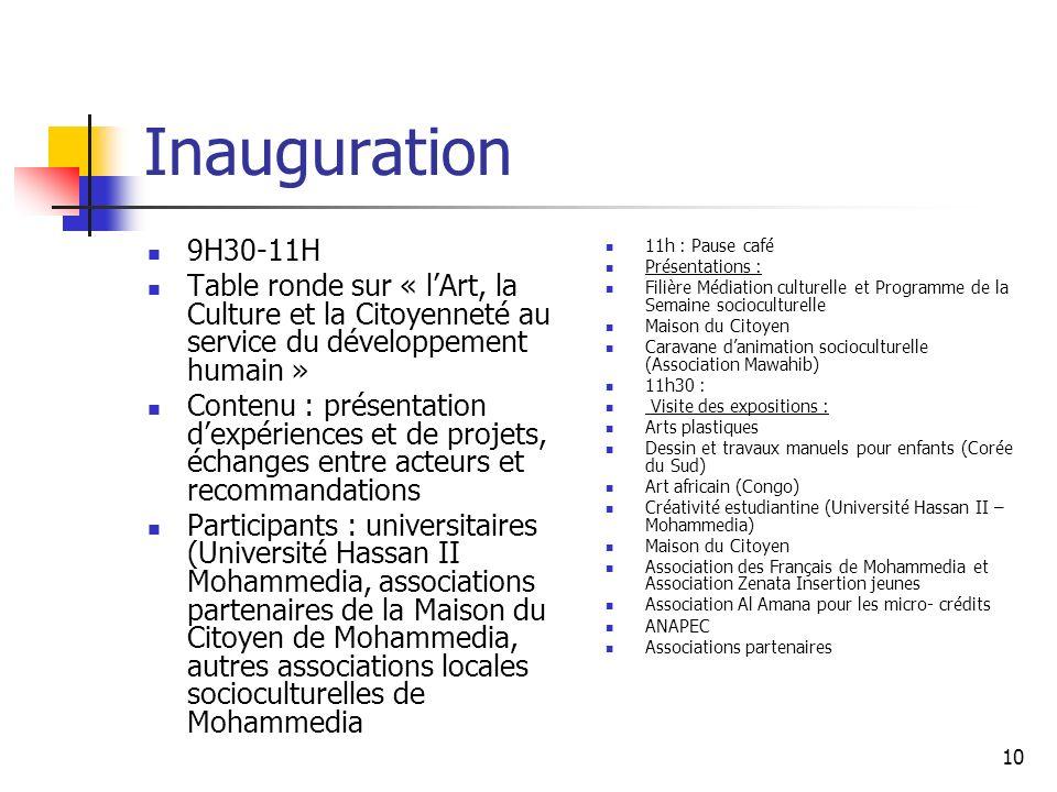 Inauguration 9H30-11H. Table ronde sur « l'Art, la Culture et la Citoyenneté au service du développement humain »