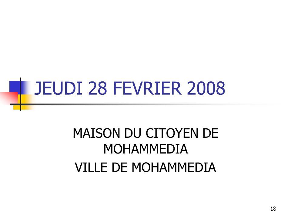 MAISON DU CITOYEN DE MOHAMMEDIA VILLE DE MOHAMMEDIA