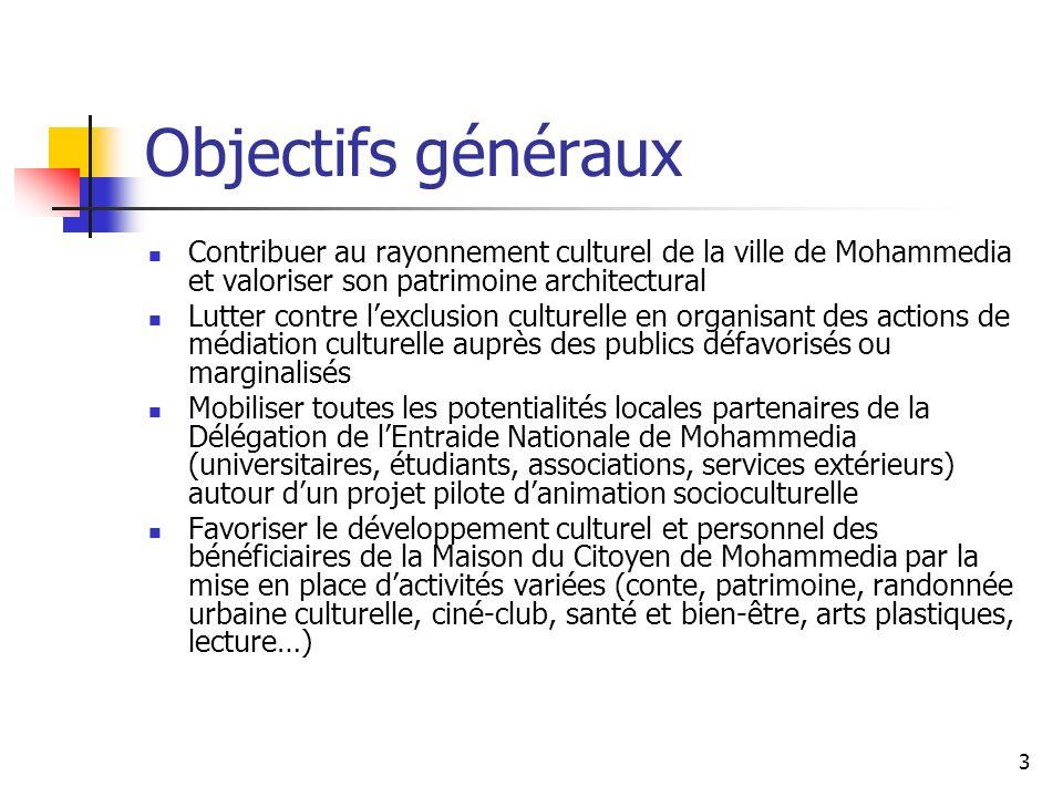 Objectifs généraux Contribuer au rayonnement culturel de la ville de Mohammedia et valoriser son patrimoine architectural.