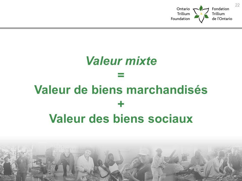 Valeur mixte = Valeur de biens marchandisés + Valeur des biens sociaux