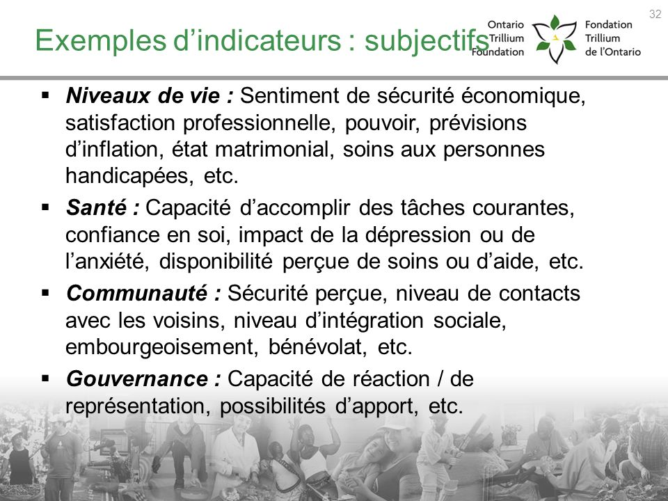 Exemples d'indicateurs : subjectifs