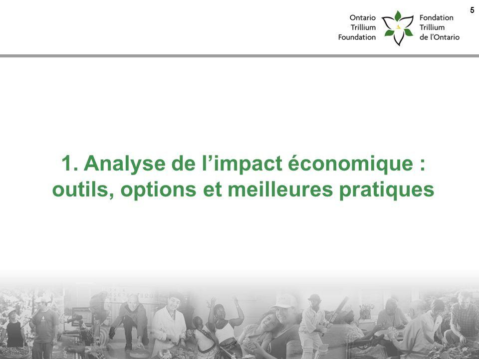 1. Analyse de l'impact économique : outils, options et meilleures pratiques