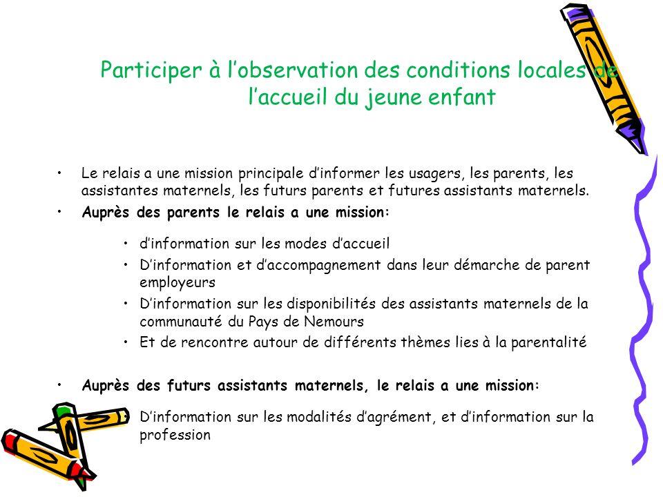 Participer à l'observation des conditions locales de l'accueil du jeune enfant