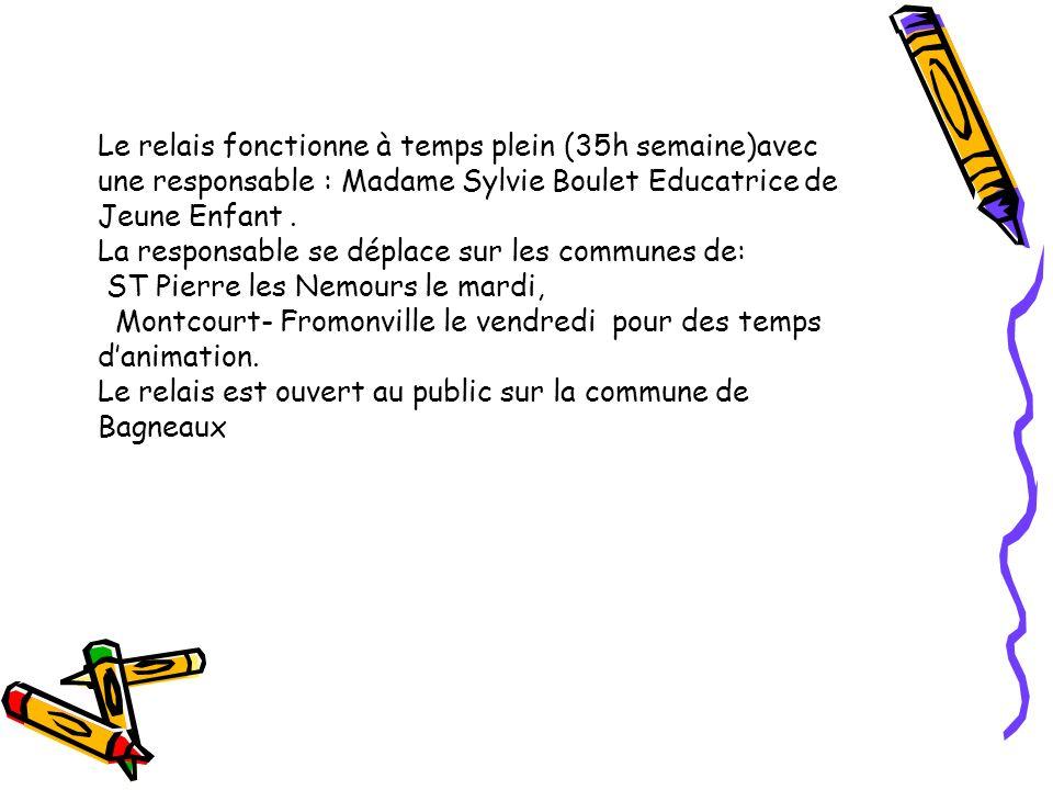 Le relais fonctionne à temps plein (35h semaine)avec une responsable : Madame Sylvie Boulet Educatrice de Jeune Enfant .