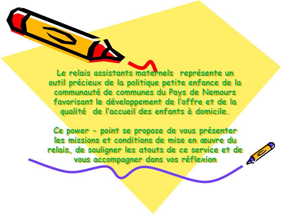 Le relais assistants maternels représente un outil précieux de la politique petite enfance de la communauté de communes du Pays de Nemours favorisant le développement de l'offre et de la qualité de l'accueil des enfants à domicile.