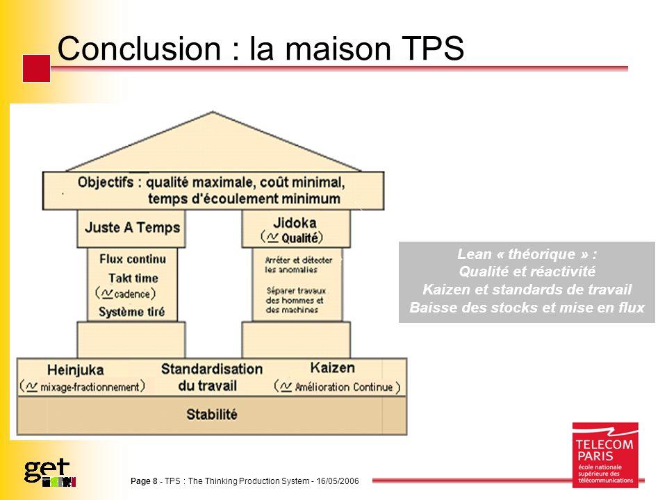 Conclusion : la maison TPS