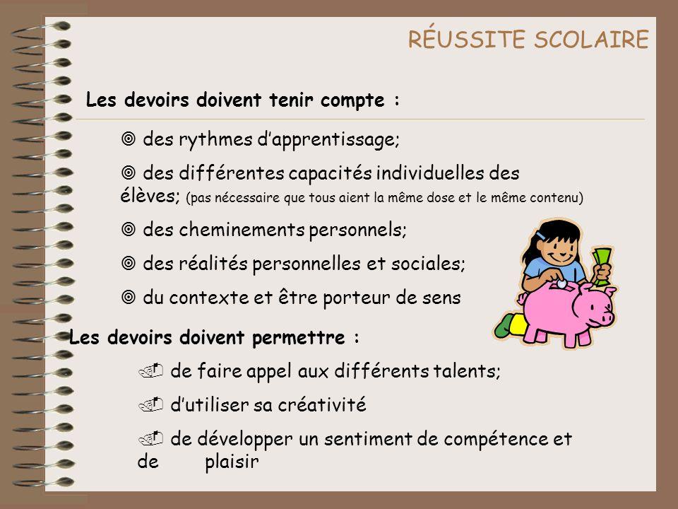 RÉUSSITE SCOLAIRE Les devoirs doivent tenir compte :