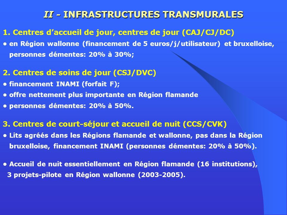 II - INFRASTRUCTURES TRANSMURALES