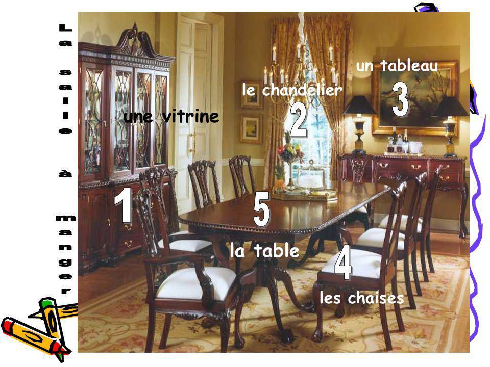 3 2 1 5 4 une vitrine la table un tableau le chandelier les chaises