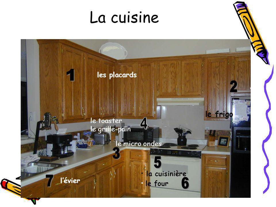 La cuisine 1 2 4 3 5 7 6 le frigo les placards