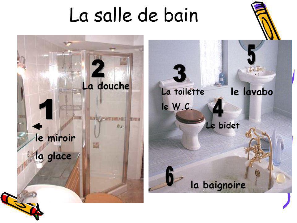 La salle de bain 5 2 3 1 4 6 La douche le lavabo le miroir la glace
