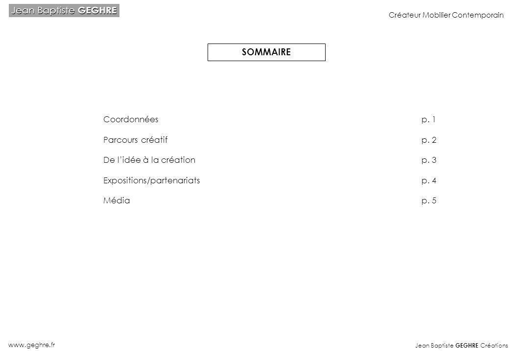 SOMMAIRE Coordonnées p. 1 Parcours créatif p. 2