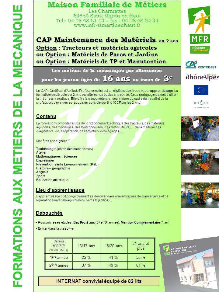 Mfr FORMATIONS AUX METIERS DE LA MECANIQUE Maison Familiale de Métiers