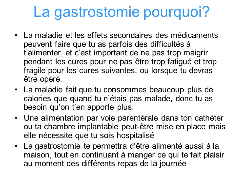 La gastrostomie pourquoi