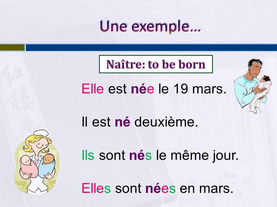 Une exemple… Elle est née le 19 mars. Il est né deuxième.